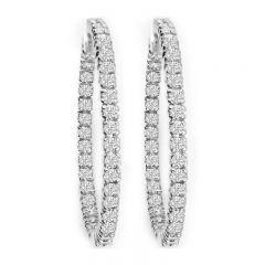 14K Diamond Hoop Earrings; 2.16 ctw
