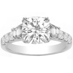 3 Stone Cushion Engagement Ring in 14K White Gold; 1.05 ctw
