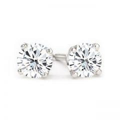 14K White Gold Diamond Stud Earrings; 1.95 Ct