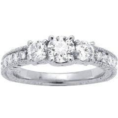 14K White Gold Three Stone Pave Diamond Engagement Ring; .64ctw
