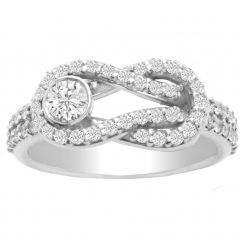 Love Knot Diamond Ring in 14K White Gold: 0.60 ctw