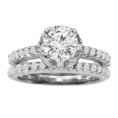 Engagement Ring Set in 14K White Gold: 0.81 ctw