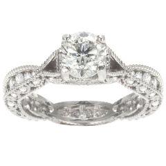Irina Scalloped Engagement Ring in Platinum; .95 ctw