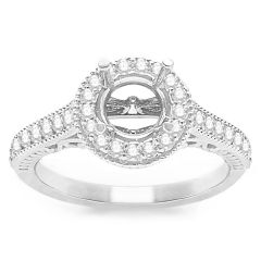 Zelda Milgrain Diamond Engagement Ring in 14K White Gold; 0.50 ct