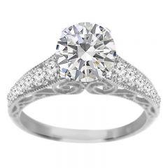 Diamond Ring Setting in 14K White Gold; 0.35 ctw