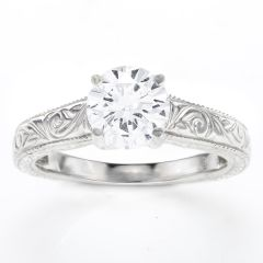 Talia Engraved Solitaire Ring in 14K White Gold