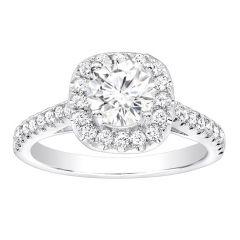 Sophronia Halo Diamond Engagement Ring in 14k White Gold; Diamond 0.55 ctw