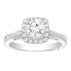Inga Halo Diamond Engagement Ring in 14k White Gold; Diamond 0.45 ctw