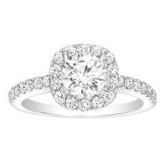 Anya 14K White Gold Diamond Halo Engagement Ring; Diamond 0.55 ctw