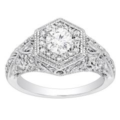 Diamond Ring in 14K White Gold- Fit For A Queen; 0.31 ctw