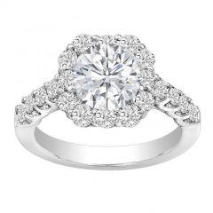 Gloria 14KWG Cushion Halo Diamond Ring; 2.20 ct