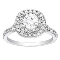 Petite Double Halo Diamond Engagement Ring; Diamond .35 ctw