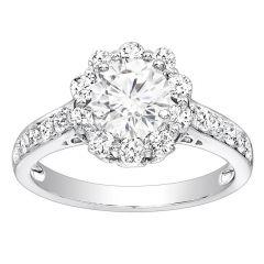 Zinnia Halo Engagement Ring; Diamond 0.60 ctw