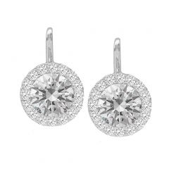 14K White Gold Round Halo Dangle Earrings; 1.00 ctw
