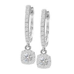 14K White Gold Petite Cushion Halo Dangle Earrings; 0.50 ctw