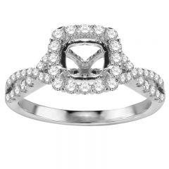 Rosalba 14K White Gold Twisted Halo Engagement Ring