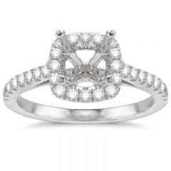 Aimee Cushion Halo Engagement Ring in 14K White Gold