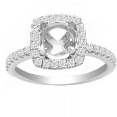 Cushion Halo Ring in 14K White Gold- Edith; 0.40 ctw