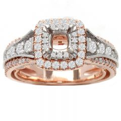 Jolie Double Halo Diamond Engagement Ring in 14K White/Rose Gold; 1.25ctw
