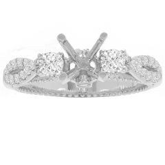 High Twist 3- Stone Ring in 14K White Gold; .41 ctw