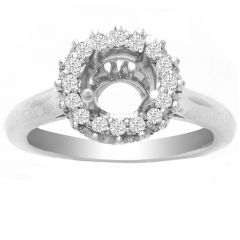 Crown Halo Diamond Ring in 14K White Gold- Elisha; 0.27 ctw