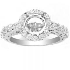 Ilse Vintage Design Diamond Ring in 14K White Gold; 1.05 ctw