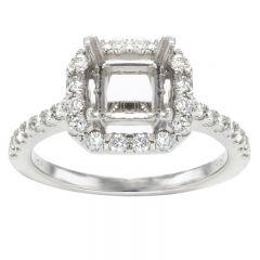 Princess Halo Diamond 14K White Gold Engagement Ring; .50 ctw