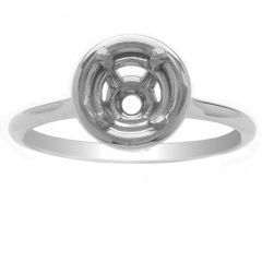 Solitaire Round Bezel Band in 14K White Gold