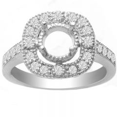 Kerri Vintage Halo Diamond Ring in 14K White Gold; 0.35 ctw