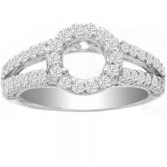 Isamar Split Shank Diamond Ring Setting in 14K White Gold; 0.80 ct