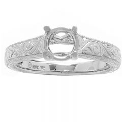 Talia Engraved Solitaire Band in 14K White Gold
