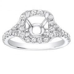 Chloe Halo Pave Diamond Engagement Ring in 14k White Gold; Diamond 1.00 ctw