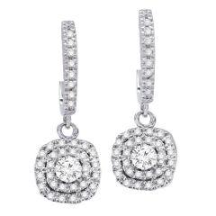14K White Gold Diamond Earrings; Diamond Weight: 1.00 ctw