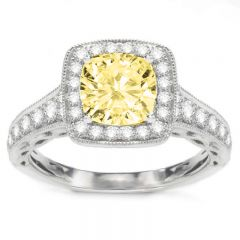 Miriam Fancy Yellow Halo Engagement Ring in 14K White Gold; 1.37 ct