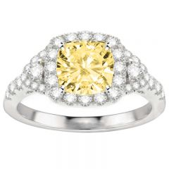 Zara Yellow Diamond Ring in 14K White Gold; 2.80 ctw