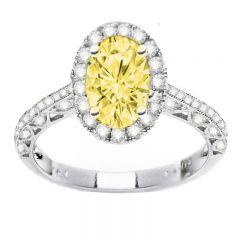 Helena Fancy Yellow Oval in 14K White Gold; 2.45 ctw