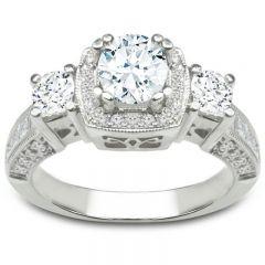 Three-Stone Princess Engagement Ring