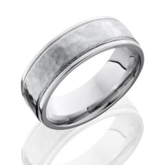 Cobalt Chrome Men's Wedding Band with Grooved Edges