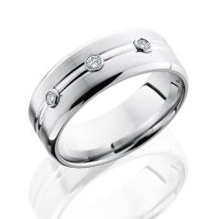 Cobalt Chrome Men's Wedding Band with White diamonds