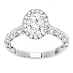 Helena Crescent Engagement Ring in 14K White Gold; 0.56 ctw