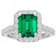 Green Emerald with Diamond Halo in 14K White Gold; 3.60 ctw