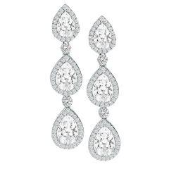 Three Pear Dangle Earrings in 14K White Gold; 2.58 ctw