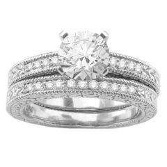 Diamond Ring Set in 14K White Gold; 0.15 ctw