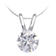 Solitaire Diamond Pendant in 14K White Gold; Shown with 0.75 ctw