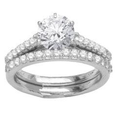 Diamond Engagement Ring Set in 14K White Gold; 0.80 ctw