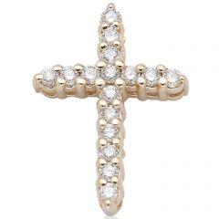 14K Yellow Gold Diamond Cross; Diamond Weight: 0.25 ctw