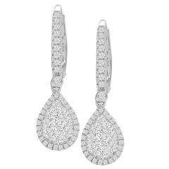 14K Diamond Pear Halo Drop Earrings; 0.81 ctw
