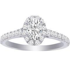 Kayla Oval-Shaped Diamond Halo Engagement Ring; 0.85ctw