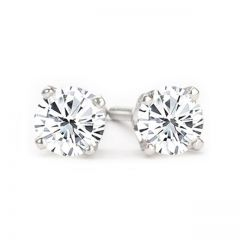 14K White Gold Diamond Stud Earrings; 2.00 ct