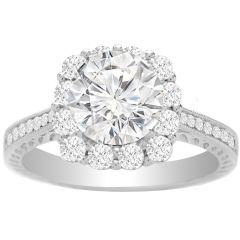 Shayla Engagement Ring Setting in 14K White Gold; 0.68 ctw